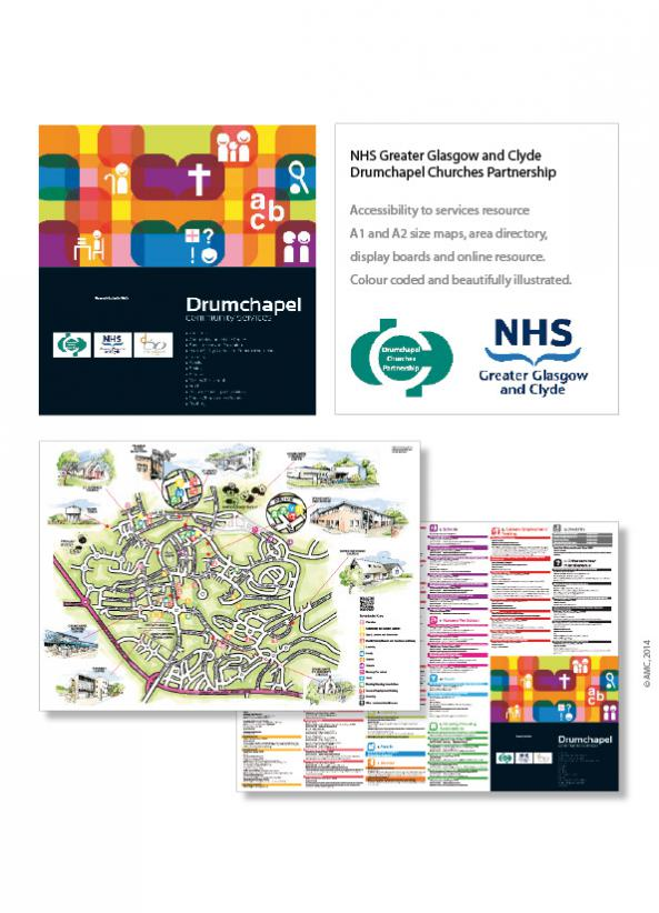 Community resource, map and display boards for the Drumchapel community for Drumchapel Churches Partnership and NHS Greater Glasgow and Clyde