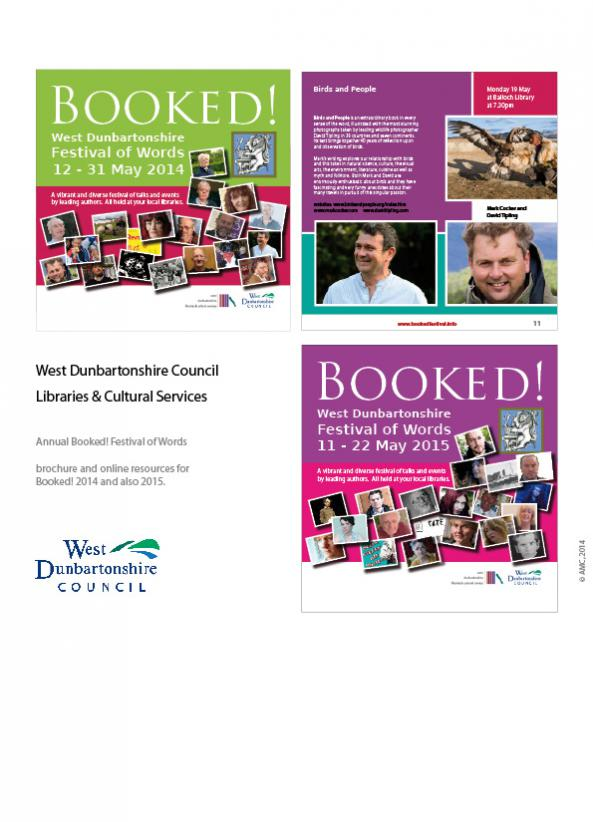 West Dunbartonshire Council - Libraries and Cultural Services Booked! Festival 2014 and 2015